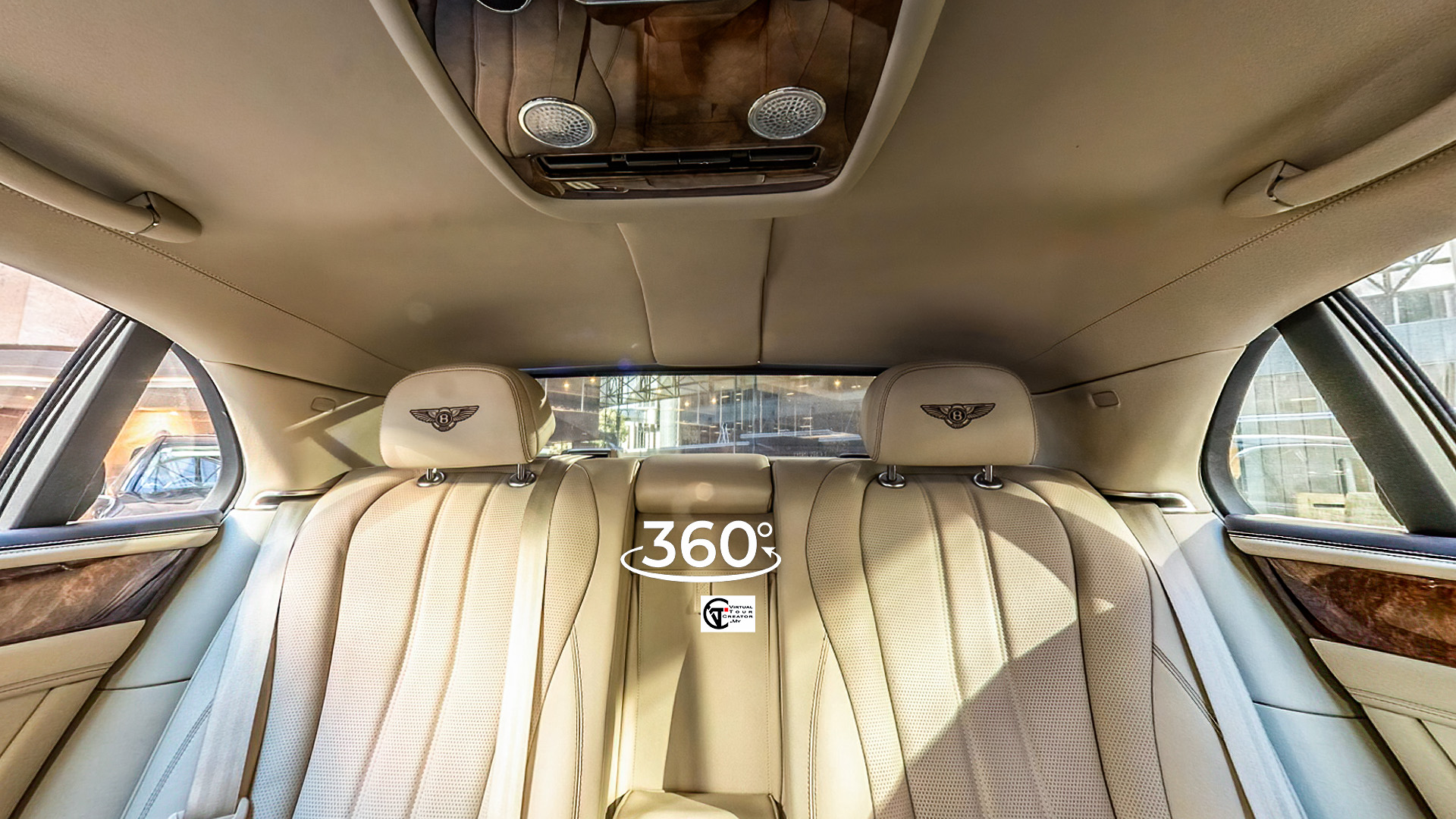 Bentley rear seat Car sellers and buyers always have a major issue to display the vehicle interior completely. Traditional Photography can excellent show the outside of a car but not inside. We can do VR 360 interior tour for Lamborghini 360, Bentley 360, Bezza 360, Tesla 360, Audi 360, Mercedes 360, BMW 360, Jaguar 360